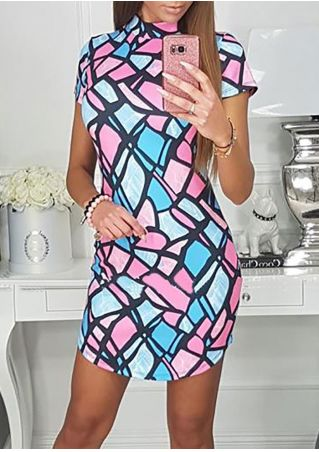 Color Block Short Sleeve Bodycon Dress
