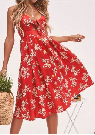 Floral Tie Spaghetti Strap Casual Dress without Necklace