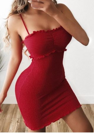 Solid Frill Sleeveless Bodycon Dress