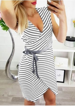 Striped Wrap Bodycon Dress without Necklace