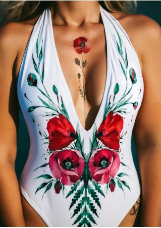 Floral Deep V-Neck Swimsuit