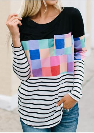 Plaid Striped Pocket T-Shirt Tee