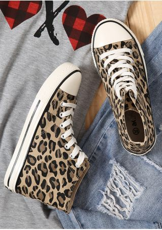 Lace Up Leopard High Top Canvas Sneakers