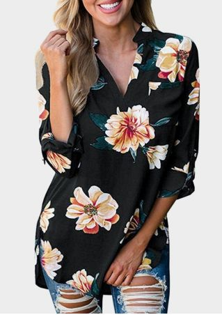 Floral V-Neck Tab-Sleeve Blouse
