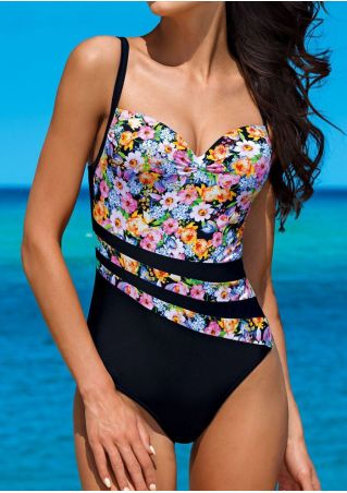 Floral Splicing Adjustable Strap One-Piece Swimsuit