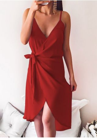 Solid Tie Deep V-Neck Wrap Dress