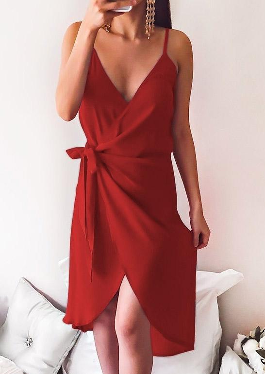 solid tie deep v-neck wrap dress