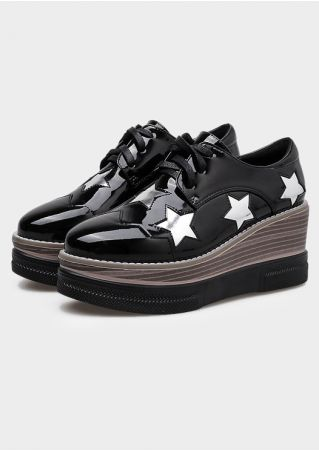 Star Lace Up Platform Shoes