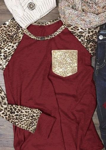 Leopard Printed Sequined Pocket Baseball T-Shirt - Bellelily
