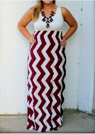 fd43d10bcfc Plus Size Zigzag Splicing Sleeveless Maxi Dress without Necklace