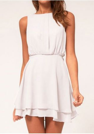 Solid Hollow Out Sleeveless Mini Dress
