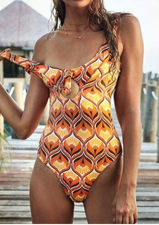 Floral Tie Hollow Out One-Piece Swimsuit