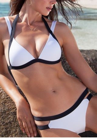 Color Block Hollow Out Bikini Set