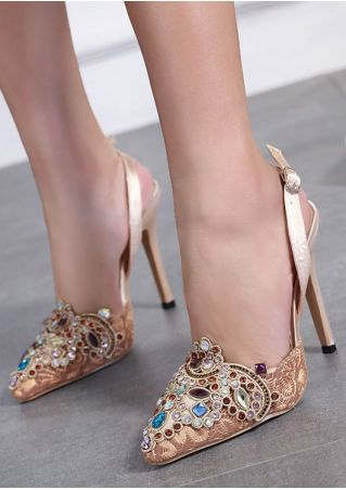 Diamond Ankle Strap Heeled Sandals