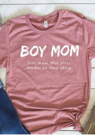 Boy Mom O-Neck Short Sleeve T-Shirt