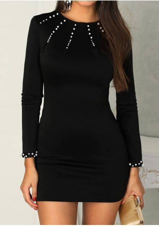 Beading Splicing Long Sleeve Bodycon Dress