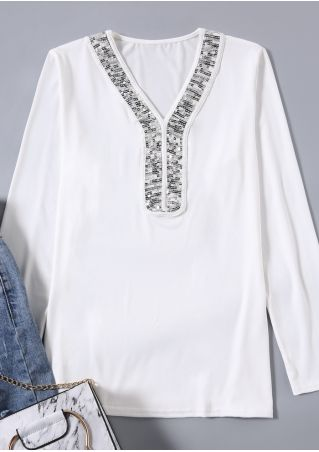 Sequined Splicing V-Neck Blouse