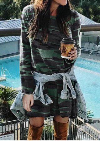 Camouflage Printed Long Sleeve Mini Dress