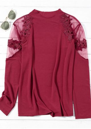 Solid Applique Long Sleeve Blouse