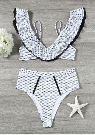Polka Dot Flouncing Bikini Set
