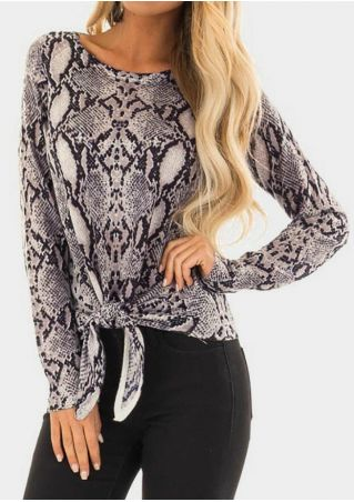 Snake Skin Tie Long Sleeve Blouse