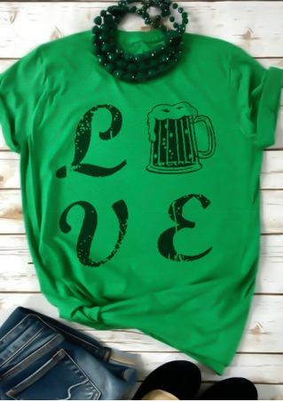 Love O-Neck Short Sleeve T-Shirt Tee