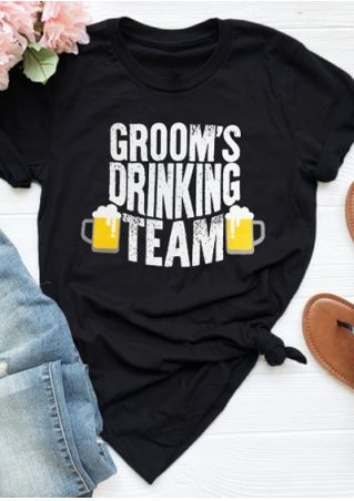 Groom's Drinking Team O-Neck T-Shirt Tee