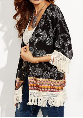 Tassel Splicing Printed Cardigan without Necklace