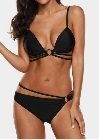 Solid Triangle Ring Bikini Set