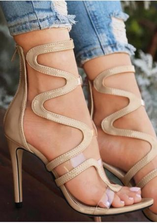 Hollow Out Zipper Heeled Sandals