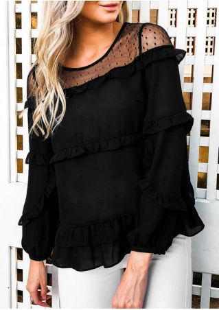 Solid Lace Splicing Frill Blouse