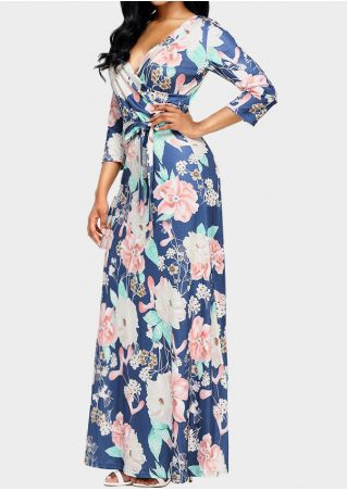 Floral Tie V-Neck Maxi Dress