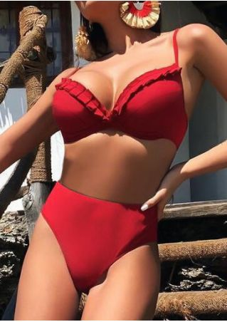 Solid Frill High Waist Bikini Set