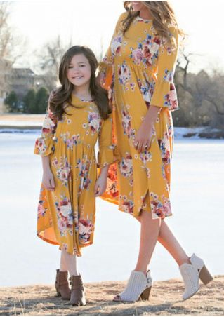 Mommy And Me Floral Flare Sleeve Casual Dress
