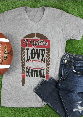 I Willie Love Football V-Neck T-Shirt Tee