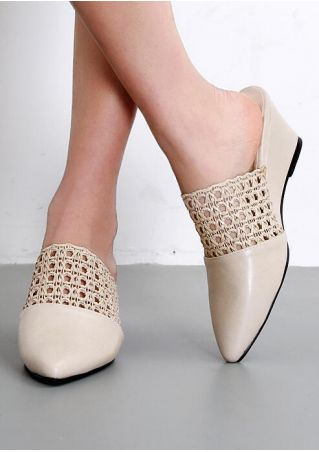Solid Lace Hollow Out Heels