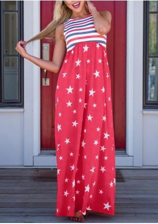 Striped Star Sleeveless Maxi Dress