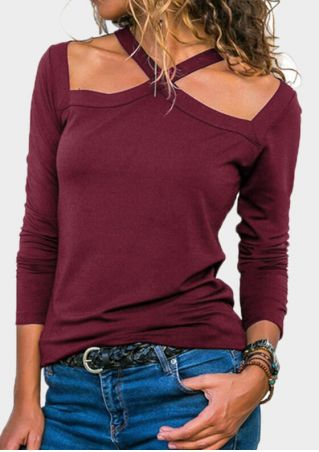 Solid Halter Long Sleeve Blouse