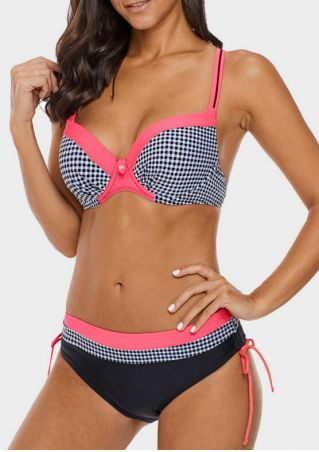Plaid Splicing Sexy Bikini Set