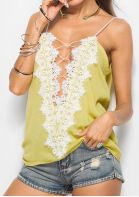 Solid Lace Floral Criss-Cross Camisole