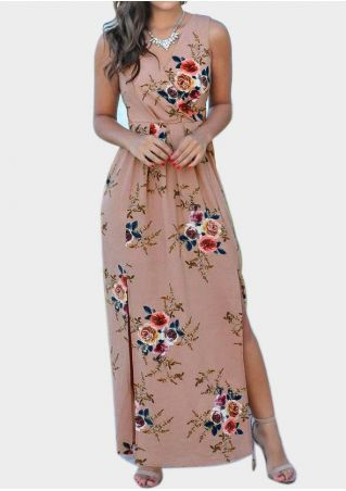 Floral Wrap Slit Maxi Dress without Necklace