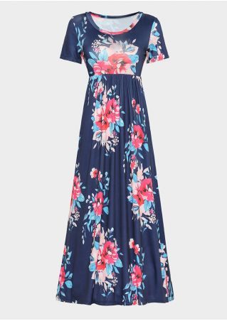 Floral Pocket Short Sleeve Maxi Dress