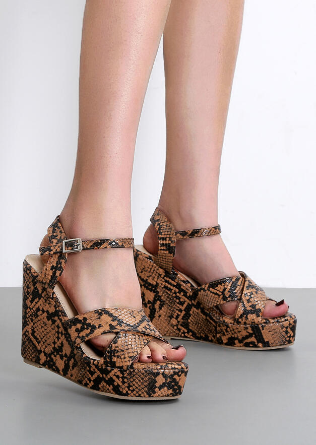 Snake Skin Cross Ankle Strap Wedge Sandals
