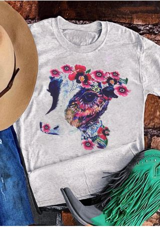 Floral Rosita Cow O-Neck T-Shirt Tee