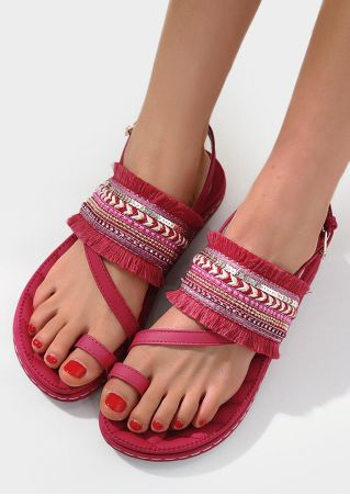 Tassel Splicing Buckle Strap Flat Sandals