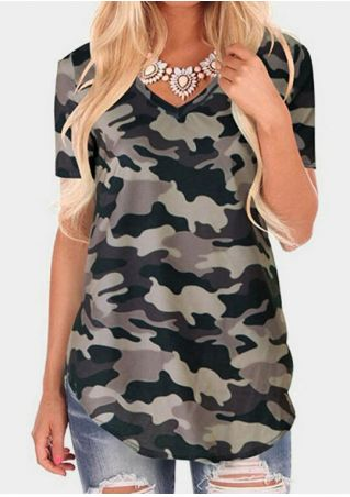 Camouflage Printed V-Neck T-Shirt Tee without Necklace