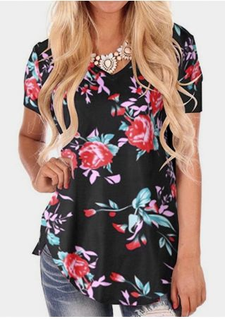Floral V-Neck Short Sleeve T-Shirt Tee without Necklace