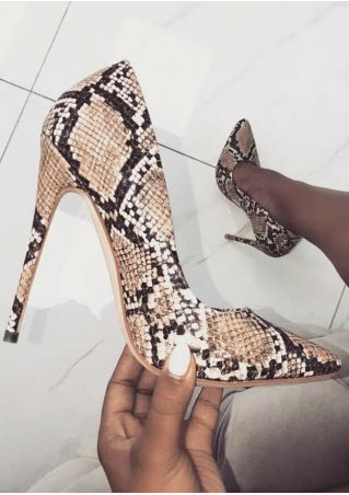 Snake Skin Pointed Toe Heels