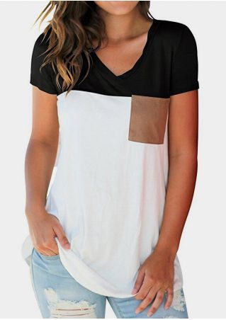 Color Block V-Neck T-Shirt Tee