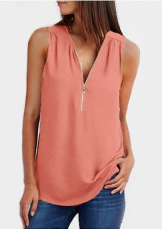 Solid Zipper V-Neck Tank